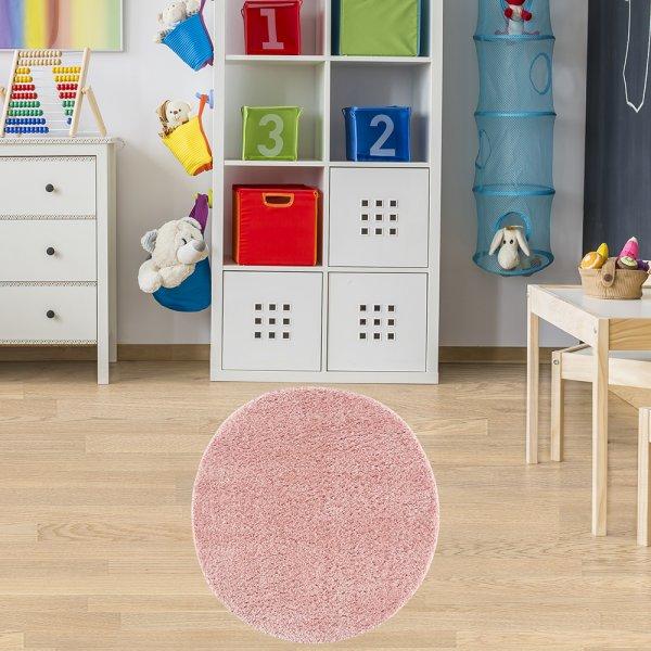 Teppich für Kinderzimmer Rund Rosa 133 cm