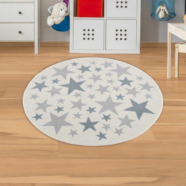 Kinderteppich Sterne Rund Blau Grau Creme