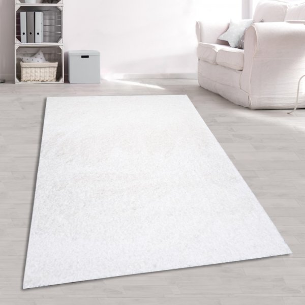 Jugend Teppich Hochflor Weiß