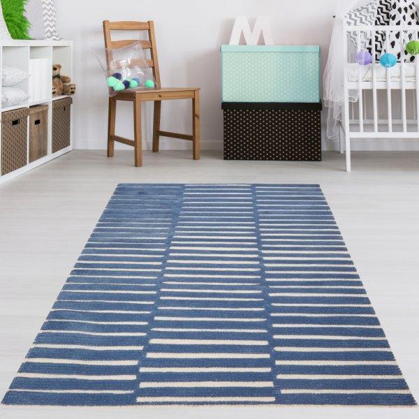 Kinderteppich Wolle Blau Gestreift