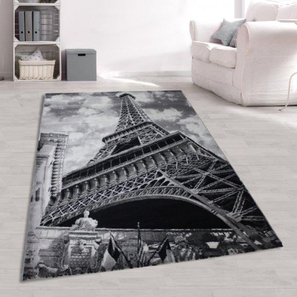 Teppich Eifelturm Grau Weiß