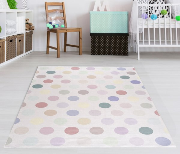 Kinderteppich Happy Rugs KIDSDOTS multi, waschbar