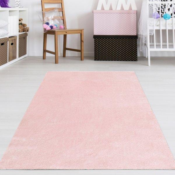 Teppich für Mädchenzimmer Uni Rosa