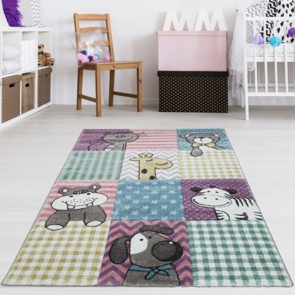 Kinderteppich Tiere Pastell Multicolor