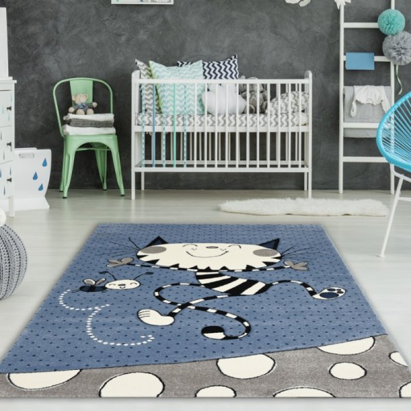 Kinderteppich Katze & Biene Blau
