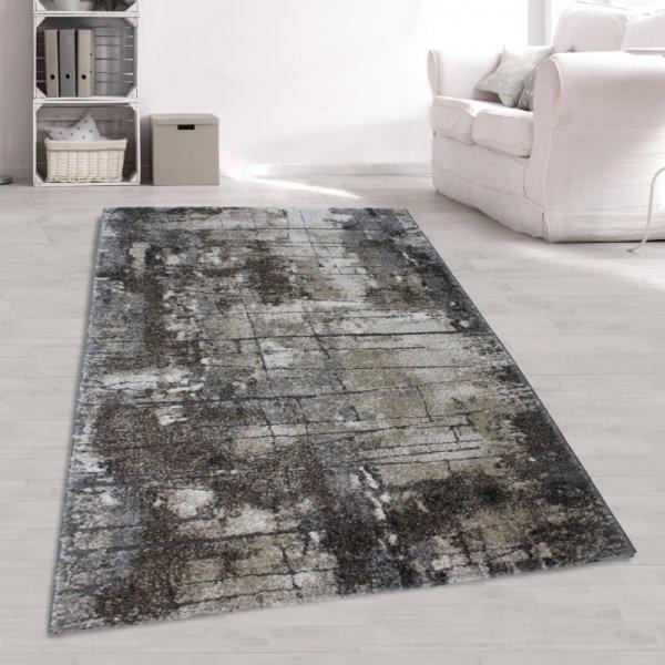 Moderner Jugendteppich Abstrakt Design Braun Weiß
