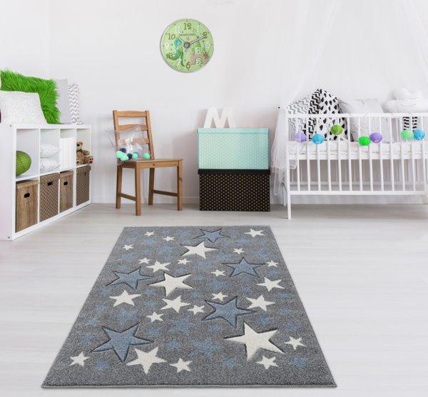 Kinderteppich Sterne Blau Grau Weiß