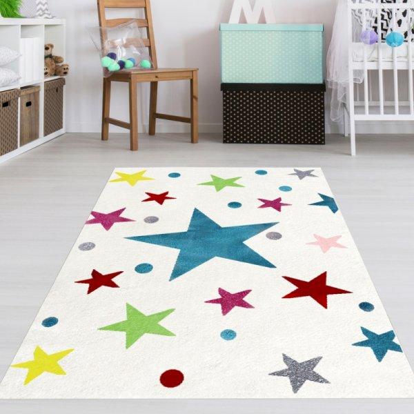Kinderteppich bunte Sterne