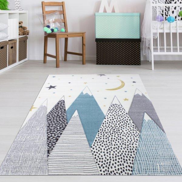 Kinderteppich Berge & Sterne Creme Weiß