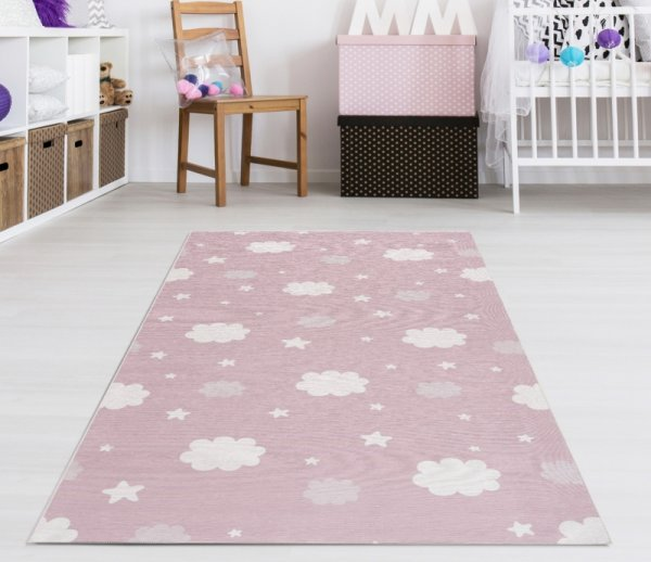 Kinderteppich Happy Rugs NIGHT rosa, waschbar 90x160 cm