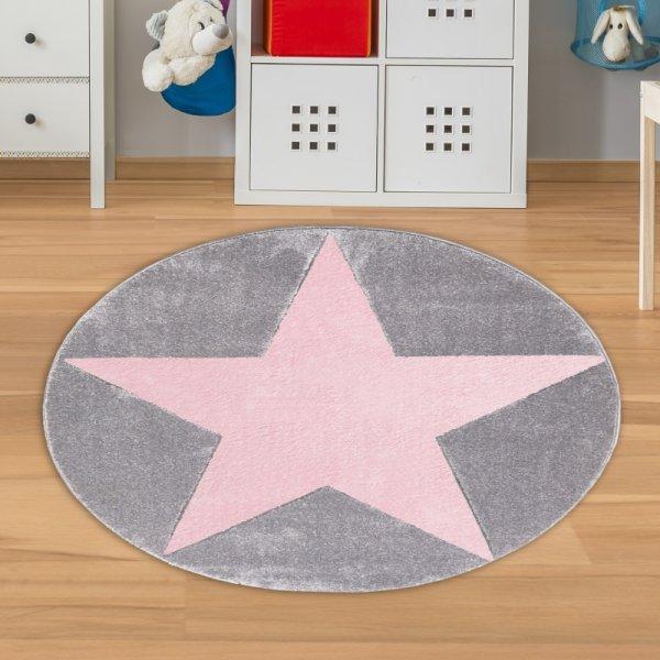 Runder Teppich mit Stern Grau Rosa