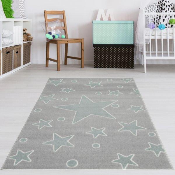 Kinderteppich Grau Mint Sternenhimmel Punkte