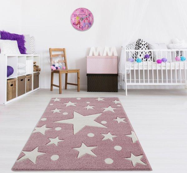 Kinderteppich Rosa Weiß Sternenhimmel Punkte