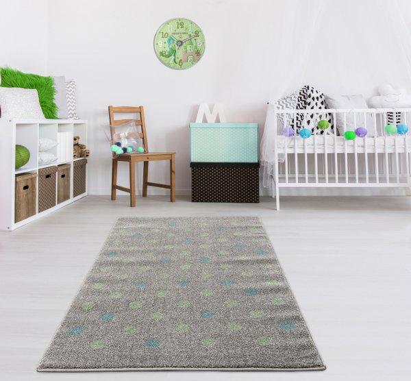 Kinderteppich Grau Mint Konfetti Punkte