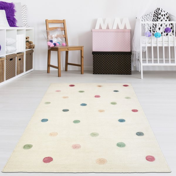 Handgewebter Teppich für Kinderzimmer Natur/Multi