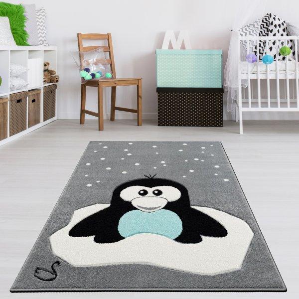 Kinderteppich Pinguin Grau