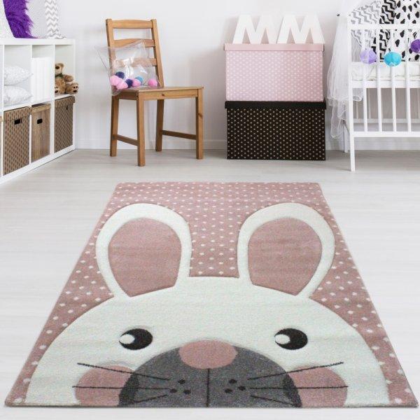 Kinderzimmer Teppich Hase Rosa Pastell | Teppich4Kids