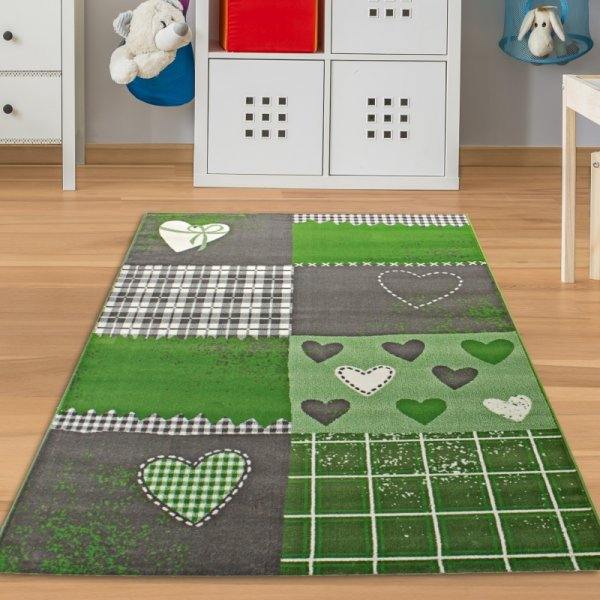 Kinderteppich Herzen Grün Grau