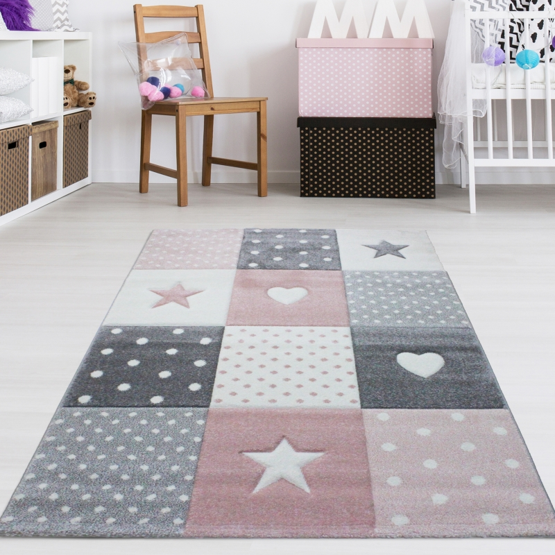 Kinderzimmer Teppich Sterne & Herzen Grau Rosa Pastell