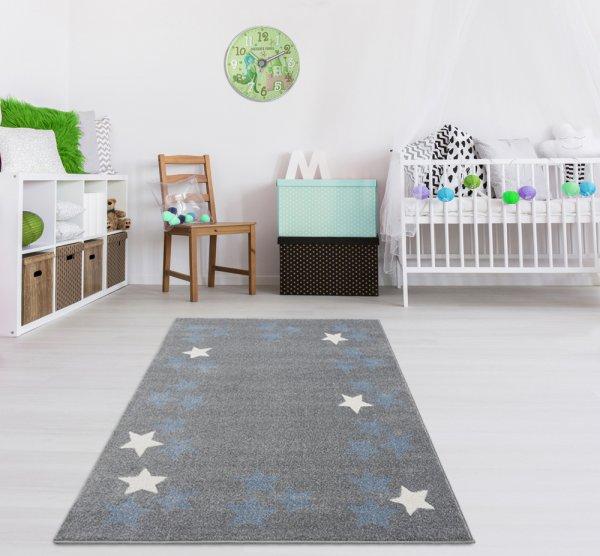 Kinderteppich Silbergrau Weiß Sterne