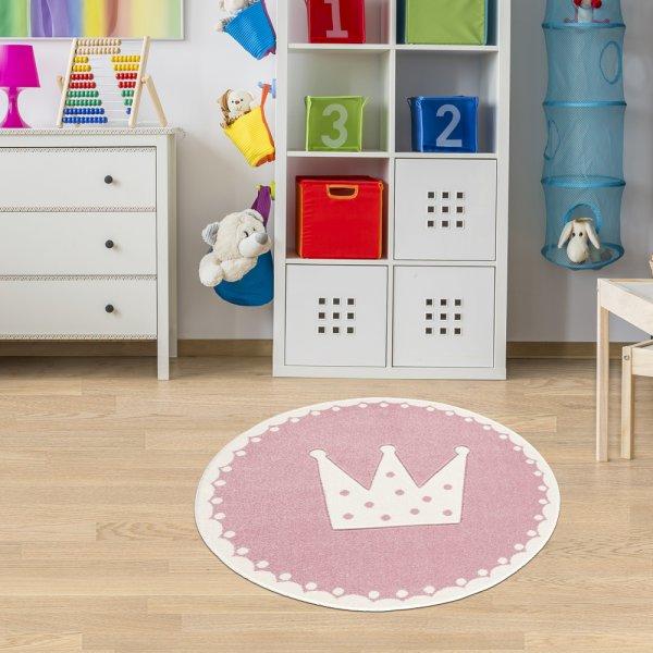 Kinderteppich Krönchen Rosa Weiß Rund