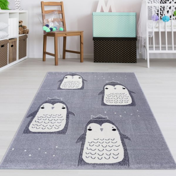 Kinderteppich Krabbelfreunde Grau Weiß