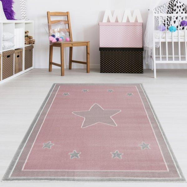 Kinderteppich Grau Fröhliche Sterne Rosa