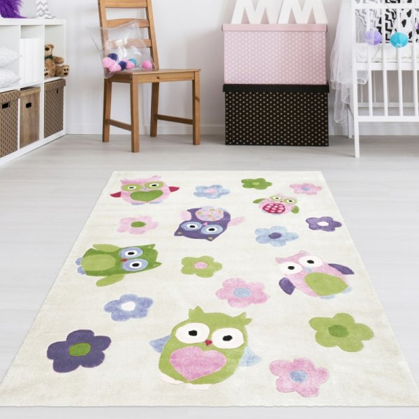 Kinderzimmer Teppich Eulen Creme Weiß Multi