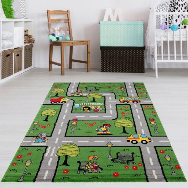 Spielteppich Grün Staßen Tiere Autos