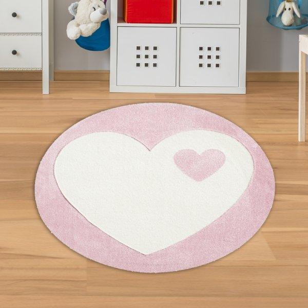 Mädchen Kinderteppich Rund Herz Rosa Weiß