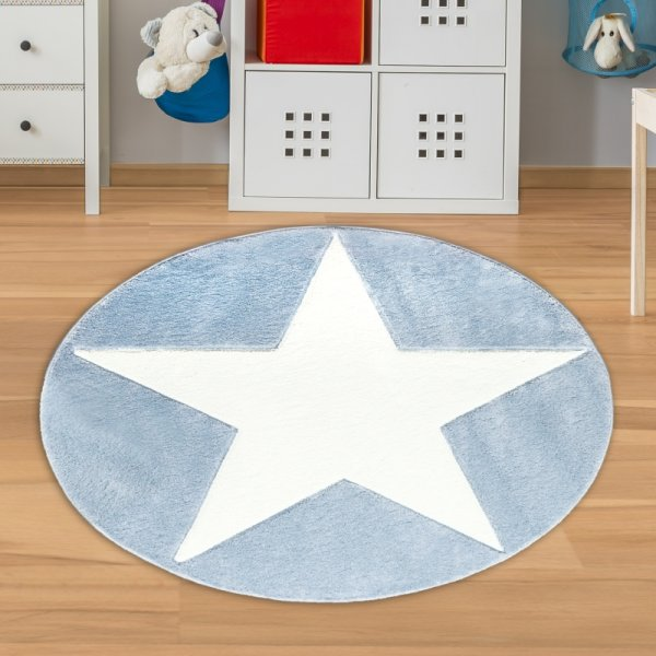 Kinderteppich Rund mit Stern Blau