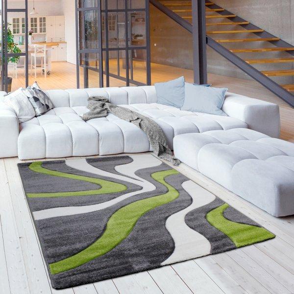 Moderner Kurzflor Jugendteppich Wellen Grün Grau Weiß