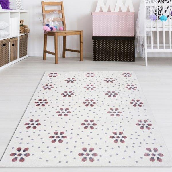 Kinderteppich Punkte & Blumen Creme Pastell Altrosa