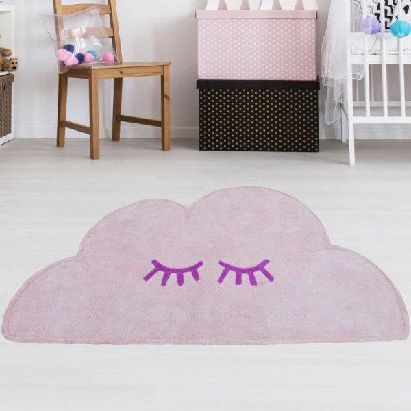 Wolkenteppich Rosa aus Baumwolle Waschbar