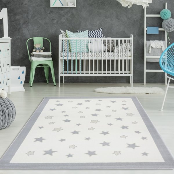 Kinderteppich Stern Träume Creme Pastell Grau