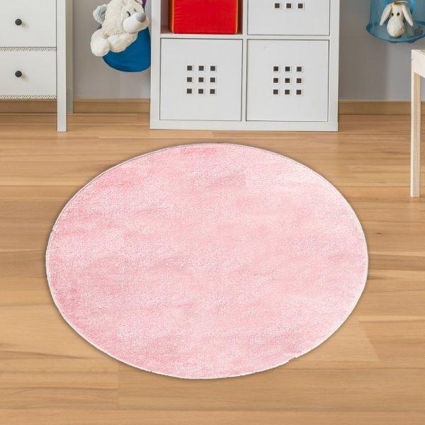 Mädchen Kinderteppich Rund Rosa