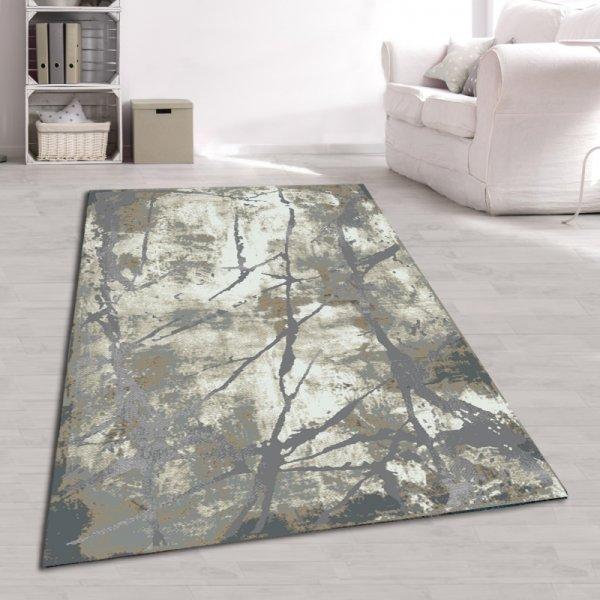 Designer Teppich Abstrakt Naturfarben Grau Creme