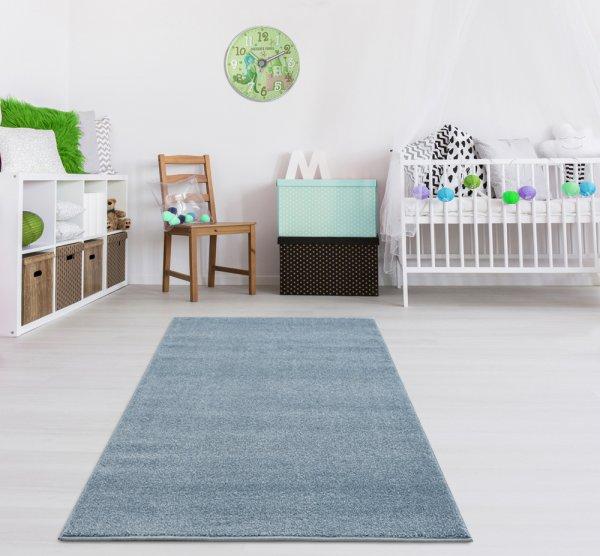 Kinderteppich Unifarben Blau Velour