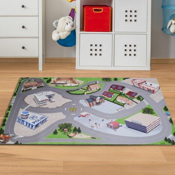 Spielmatte Straße mit Stadt & Verkehr 150 x 100 cm