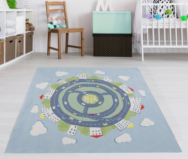 Kinderteppich Happy Rugs KIDSEARTH blau/multi, waschbar, 120x120cm