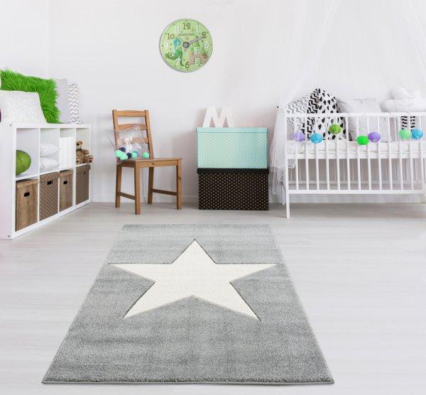 Kinderteppich Stern Grau Weiß Velour