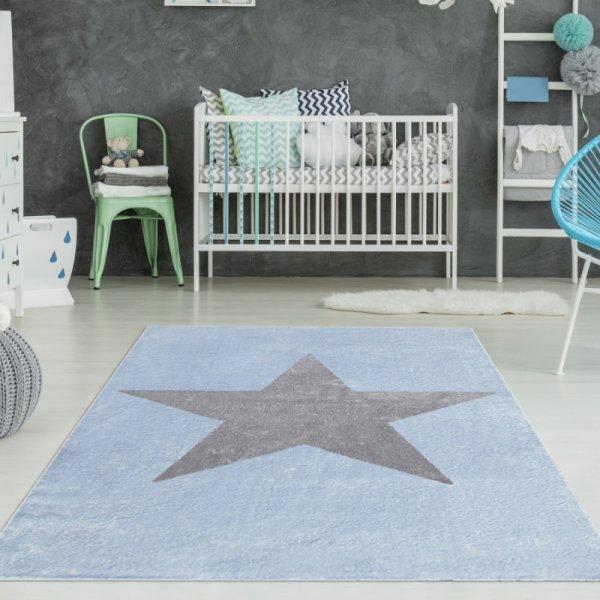 Teppich mit Stern Hellblau Grau