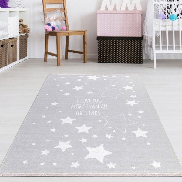 Kinderteppich Sternenhimmel Grau