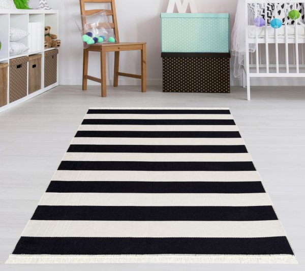 Waschbarer Teppich Piatto STREET schwarz/weiß