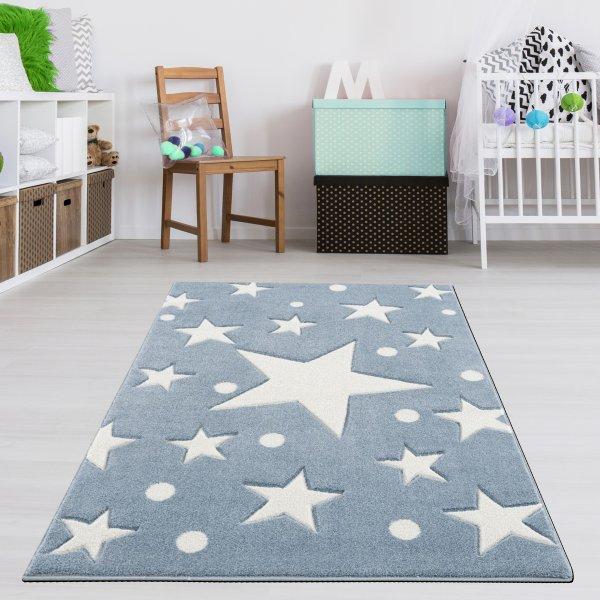 Kinderteppich Blau Weiß Sternenhimmel Punkte