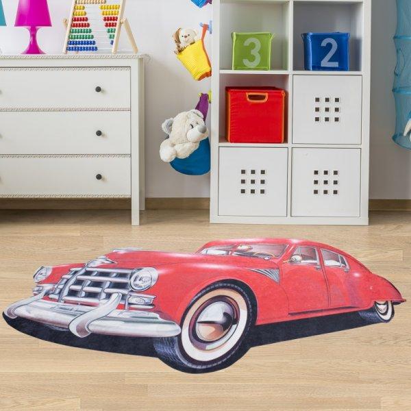 Kindertepich Auto Rot Waschbar & Rutschfest 100x160 cm