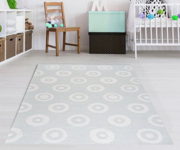 Kinderteppich Happy Rugs DOUBLEDOTS mint, waschbar