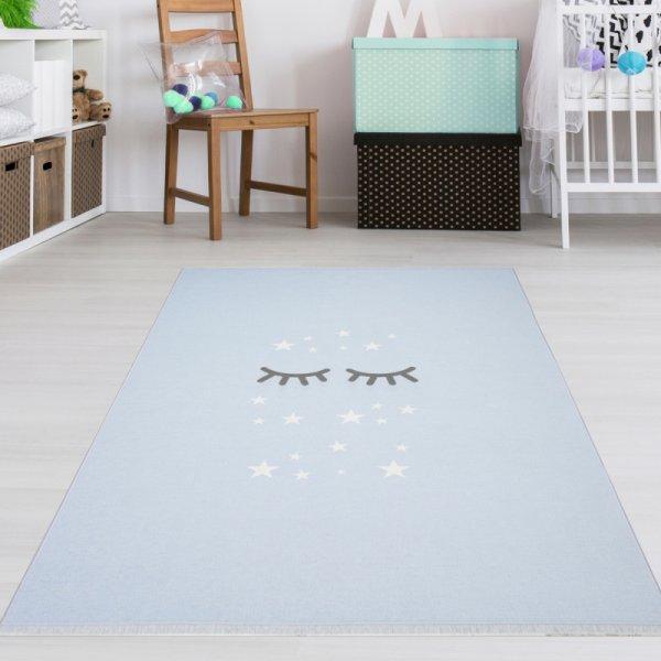 Kinderteppich Schlafende Augen & Sterne Hellblau