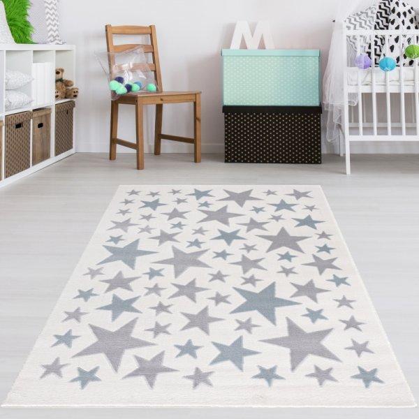 Kinderteppich Sterne Creme Blau Grau
