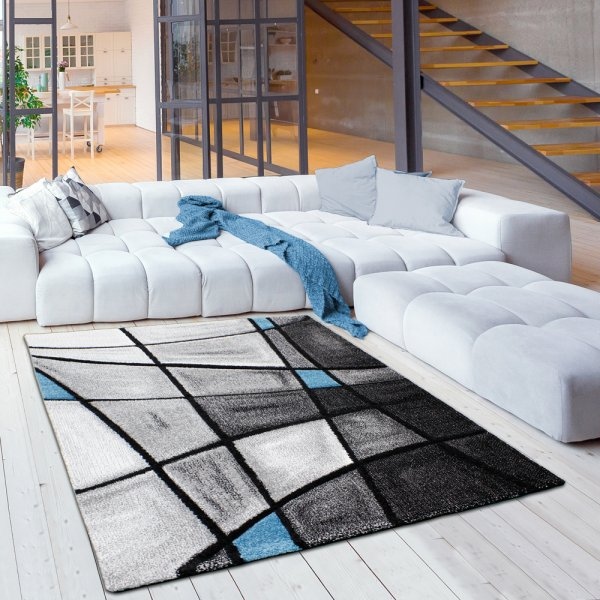 Moderner Jugendteppich in Grau/Blau